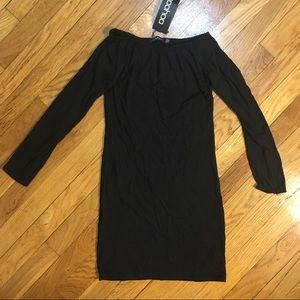 Black off shoulder love sleeve bodycon dress